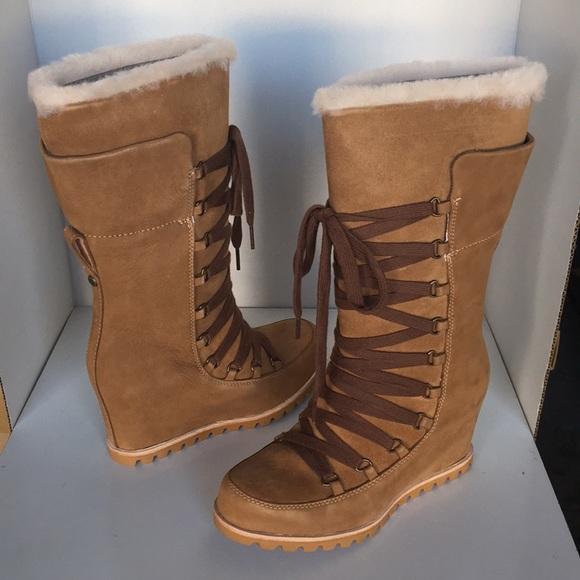 de1d77a5c42c ❤️New Ugg Mason Chestnut Tall Wedge boots Sz 11
